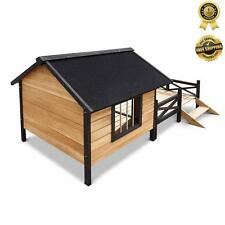 Pet DOG KENNEL House WITH PATIO Wooden Timber Bed Porch Deck New XL Extra Large