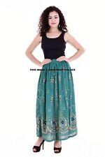 Women Boho Skirt Sequins Work Wrap Skirts Floral Print Beach Long Sun Dress
