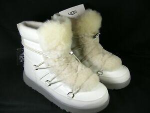 UGG Highland White Womens Size 10 Leather & Sheepskin Waterproof Boots 1096467