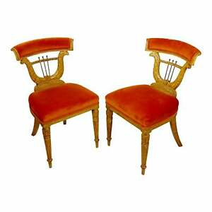 Lyre Back upholstered Voyeuse Chairs in the Manner of Georges Jacob -a Pair