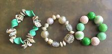 Lot 3 Bracelets Fantaisie Pierres Plastique Coquiallage Blanches Verts Ref 500