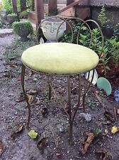 Vintage Hollywood Regency mid century Gold  Metal scrolled Vanity Chair Stool