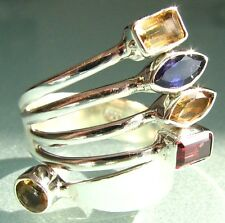 925 silver coiled cut mixed gemstone ring UK P½-¾/US 8-8.25
