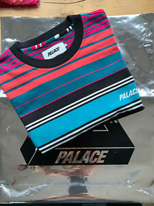 "Ultra Rare ""PALACE"" Wide Stripe Black/ Multicoloured S/S Tee In Large Worn Once!"