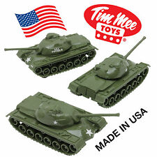 TimMee Processed Plastic M48 Patton Tank: 3 Pack Tim Mee Army Men Vehicles