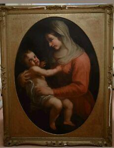 Carlo Maratta seg. MADONNA CON BAMBINO olio su tela fine 600 enorme cm 110x140