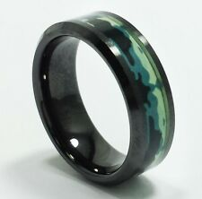Mens BLUE GREEN CERAMIC RING Camouflage Camo Design Pattern Wide Band