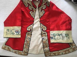 Antique Chinese Red Silk, Gold Thread Embroidered Jacket