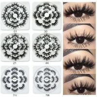 💙7 Pairs 3D False Eyelashes Mink Wispy Cross Long Thick Soft Fake Eye Lashes💙