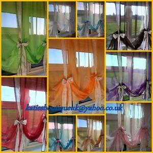 Plain Voile Tie Blinds Net Curtain Panels - Many Colours Available