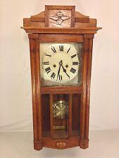 Antique German Hamburg American Clock Co Wall Clock Great Oak Case Runs Strikes