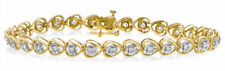 .86ct Ladies Genuine Diamond Heart Shaped Tennis Bracelet-14kt Solid Gold. NWT