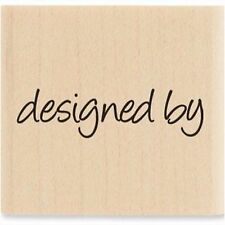 "Designed By Handmade Tag Label Wood Mounted Wooden Rubber Stamp 1 1/4"" x 1 1/4"""