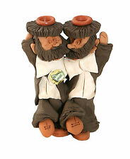 Collector Clay Candle Holders / Sticks Hand Made From Israel Two Rabbi Dancing
