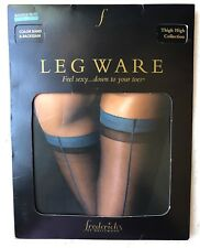 Frederick's Of Hollywood Fishnet Thigh High Stockings Nylon Blue Black Backseam