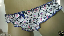 Pretty Ivory Floral Mini Bikini Brief Panties Frilly Knickers S UK 8
