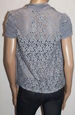 Free Fusion Brand Grey Lace Back Short Sleeve Cardigan Size S BNWT #SV39