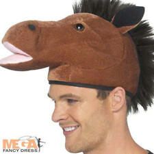 Horse Fancy Dress Hat Animal Mens Ladies Royal Ascot Costume Adult Accessory New