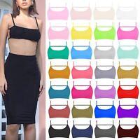 New Ladies Open Back Strappy Cami Plain Summer Vest Bralet Backless Bra Crop Top