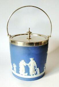 Antique Wedgwood Blue Dipped Jasper Epns Silver Biscuit Barrel Pot Jar - VGC