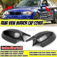 For BMW E81 E82 E87 E88 PRE-LCI Carbon Fiber Look Side Rearview Mirror Cover Cap