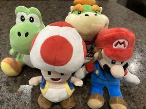 Super Mario Nintendo Plush Doll Lot ~ Mario, Bowser, Toad, Yoshi~No Tags