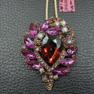 New Fashion Pink Crystal Lovely Flower Pendant Betsey Johnson Long Necklace