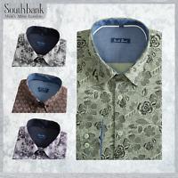 New Men's Floral Shirt Printed Slim Premier Cotton Vintage Liberty Green Khaki