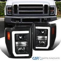 For 08-10 Ford F250 F350 F450 Super Duty Black LED Strip Projector Headlights