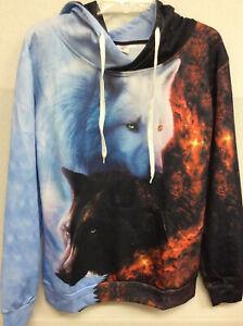 Wolf 3D Graphic Men Women's Hoodie Hooded Sweatshirt Jacket Pullover pocket M
