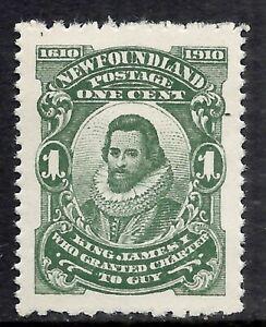 NEWFOUNDLAND SCOTT 87b MNH VF - 1910 1c DEEP GREEN ISSUE (G)  CAT $7.50