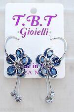 silver Orecchini con Fiori cristallo Cerchi da Donna Eleganti pendenti Blu