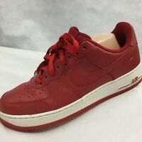 Nike Air Force Ones 1 AF- 1 82 Sneakers 2010 Red White Low Tops Sz 9.5 Leather