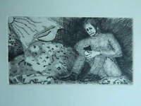 Antigua Grabado L'Homme Triste Y El Paloma Proof de Artista Justificado Firmada