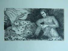 ancienne gravure L'HOMME TRISTE ET LA COLOMBE épreuve d'artiste justifiée signée