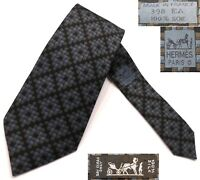 "HERMES PARIS 398EA MEDALLION CHECK SILK TWILL TIE MADE IN FRANCE W=3.625"" L=58"""