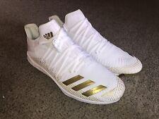 NEW Adidas Adizero Afterburner 6 (Men's 12) White & Gold Football Baseball Cleat