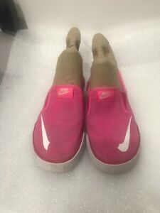 Nike Girls Toki Slip-On Shoes, Pink - Size 1Y Style  719745-600 Preowned