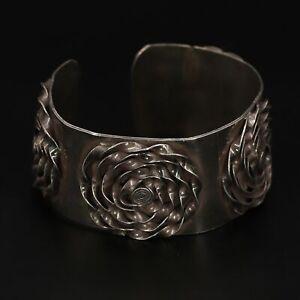 "VTG Sterling Silver - HEAVY Twisted Ribbon Flower 7"" Arm Cuff Bracelet - 66g"