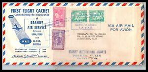GP GOLDPATH: BOLIVIA COVER 1949 FIRST FLIGHT COVER _CV745_P13