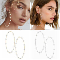 Fashion Gold Plated Women Pearl Big Circle Hoop Dangle Drop Ear Stud Earrings