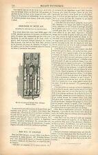 Heurtoir marteau de porte Maison de Jacques Coeur à Bourges GRAVURE PRINT 1877