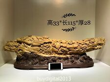 115 CM Indonesia Agarwood Chinese zodiac Animal Nine Dragon Play Bead sculpture
