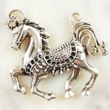 2Pcs Carved Tibet Silver Horse Pendant Bead 49x35x7mm JC478