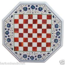 """15"""" Marble Coffee Corner Chess Table Top Multi Stone Mosaic Inlay Home Art H2078"""