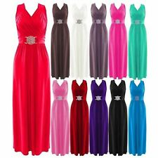 Womens Sleeveless Wrapover Silver Buckle Tie Back Maxi Dress Cocktail Dress
