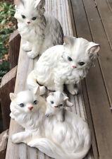 Vintage Trio Lefton Napco White Persian Cat, Kitten Figurines, #1514 Blue Eyes