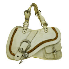 Authentic Christian Dior Charm Gaucho Tote Hand bag Leather Ivory Italy 04B596