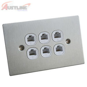 RJ45 Cat6 Cat6a 6Port Flat Brushed Stainless Steel Clipsal Style Wall Plate Slim