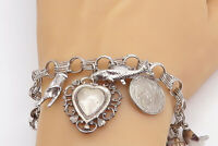 925 Sterling Silver - Vintage Assorted Charm Triple Link Chain Bracelet - B8336